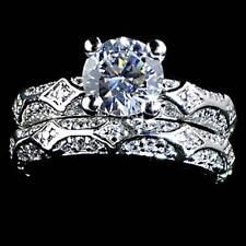 *ELEGANT* ORNATE BRILLIANT CLEAR CZ WEDDING SET RING__SZ-10__925 STERLING SILVER
