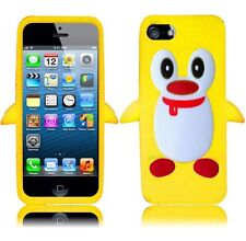 For Apple iPhone 5 5S SE Rubber SILICONE Soft Gel Skin Case Cover Penguin Yellow