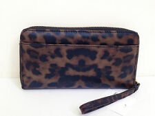 BNWT Authentic LIZ CLAIBORNE Zip Around Clutch Wallet Wristlet Leopard Nylon