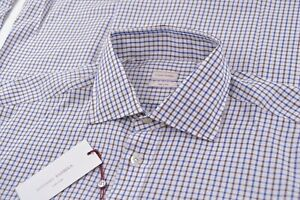 NWT Luciano Barbera Size Large Dress Shirt Brand New White Blue Brown Made Italy