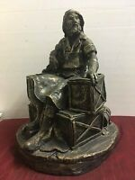 "Vintage Statue Nautical Fisherman Seaman Sailor Old Salty 16"" Chalkware Plaster"