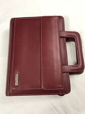 Vintage Franklin Covey Red Leather Planner Binder With Handles 7 Rings
