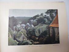 SUISSE BRETONNE/ Gravure 19° in folio couleur / HUELGOAT. LE CHAOS DU MOULIN