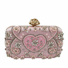 Pink Women Beaded Evening Bags Bridal Clutch Wedding Party Purses and Handbags