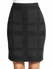 Eileen Fisher Women Black Grey Merino Wool Plaid Square Mini Short Skirt XL