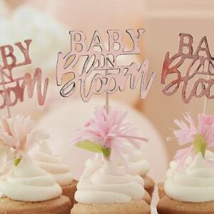 Rose Gold Baby In Bloom Cupcake Toppers | Baby Shower Cake Decoration x 12