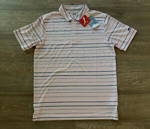 PUMA Cloudspun Fine Stripe Golf Polo Pink Blue Gray SZ M ( 599123 04 ) NEW!