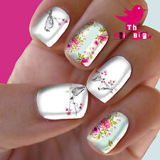 Nail Art Nail Decals Nail Transfers Nail Wraps - BIRDS & FLORAL MIXED New Decals