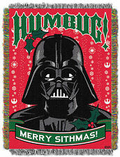 "Disney Star Wars Darth Vader Humbug ""Merry Sithmas"" Woven Tapestry Blanket Throw"