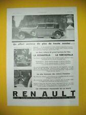 PUBLICITE DE PRESSE RENAULT AUTOMOBILE REINASTELLA ET NERVASTELLA TOURISME 1931