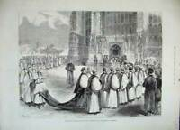 Old Antique Print 1883 Procession Archbishop Canterbury Cathedral Weedon 19th