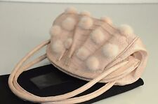 $3600 NEW Nancy Gonzalez Pale Pink CROCODILE Mink Pom Pom BAG Clutch