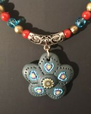 """21"""" Multi-Colored Beaded Necklace w/ Large Clay Flower"""