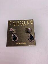tear Drop Earrings Jackets S80a $45 Carolee Silver Tone blue crystal