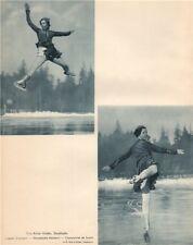 ICE FIGURE SKATING. Vivi-Anne Hultén - Swedish Champion 1935 old vintage print