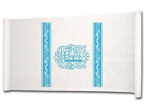 "Ivy Lane Design 90-Feet by 36"" Aisle Runner Fancy Font Letter F, White with Blue"