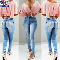 Womens High Waist Denim Jeans Skinny Stretch Slim Long Pants Pencil Trousers USA