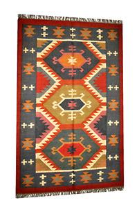 Home Decor Handmade Wool and Jute Rug Kilim Rug  Area Rug Floor Cover 4 x 6 Ft