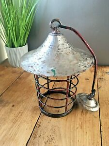 INDUSTRIAL GARAGE WORKSHOP LANTERN SPIRAL CAGED METAL CEILING LIGHT LAMP VINTAGE