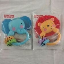 Lot of 2 - Fisher Price Elephant Lion Teether/Rattle 2013 Mattel 3-18 Months