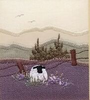 Small Scottish Country Scene Embroidery Sheep, Flowers & Hills Signed Linda Kerr