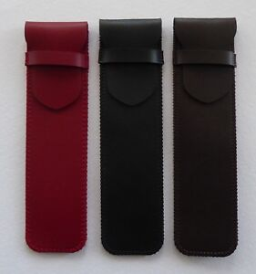 GENUINE LEATHER PEN CASE FOUNTAIN/BALLPOINT/ROLLER - BLACK/BROWN/RED FOR ONE PEN