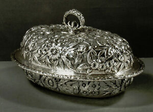 Kirk Sterling Entree Dish                       c1905 HAND DECORATED