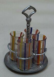 Miniature Hand-Blown GERLACH 4 Glasses in Holder Dollhouse Doll's House TYNIETOY