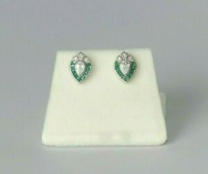 Ladies Art Deco Design 925 Sterling Silver Emerald & White Sapphire Earrings