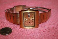Vintage Swiss Elgin Automatic Gold-tone Big Rectangular Face Watch  Working