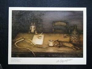 Autograph Yuri Norstein Tale of Tales HAND Signed print 2 Norshteyn Little Wolf