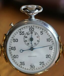 Vintage Chrome Case Pocket Watch style SECURITY Brand Swiss Made Stop Watch