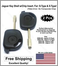 2pak: Jaguar Key Blank Shell w/Chip Holder - No Chip! (Fits: S Type &  X Type)