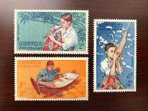 Laos 1957 Scott #34-36 Musical Instruments Mint LH