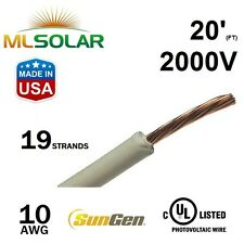 20FT 10 AWG Sungen Solar PV Wire 2000V Cable UL 4703 Copper MADE IN USA