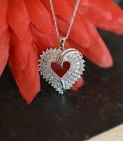 """1.00 Ct Diamond Cluster Heart Love Pendant 14K White Gold GP 18"""" Women's Gift"""