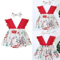 Baby Girls Christmas Romper Dress Infant Outfits Xmas Party 2PCS Clothes Costume