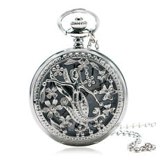 Mermaid Princess Necklace Silver Hollow Flower Quartz Pocket Watch Pendant Gift