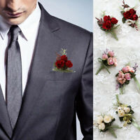 Artificial Flower Bridal Wrist Corsage Boutonniere Wedding Party Hand Flowers