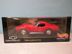 NEW 1:18 Scale RED 1969 CHEVROLET CORVETTE STINGRAY 427 By HOT WHEELS