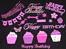 Happy Birthday 140 pcs Die Cuts in 4 Colors Cupcakes Flowers Banner See Photos