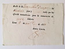 PERU Spain document receipt 16 pesos for monthly maintenance of a soldier 1817