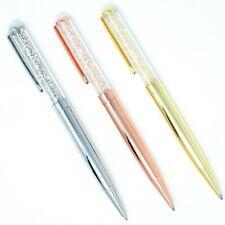 Rose Gold Silver Crystalline Crystal Ballpoint Pen Bling Diamonds Black Ink - UK
