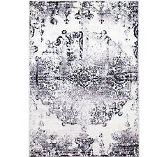 Ivory Gray Transitional Area Rug Modern Distressed Faded Medallion Rug Carpet