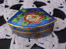 Collectible Trinket Box Enameled Flowers Blue Background Goldtone Trim Good Snap