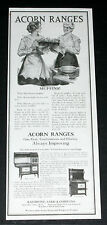 1917 OLD MAGAZINE PRINT AD, ACORN RANGES, GAS COAL, COMBINATIONS, ELECTRIC, ART!