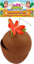Coconut Cup With Straw & Flower - Hawaiian Luau Tropical Party Beach