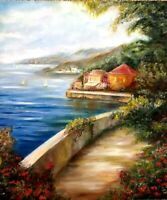 Seascape beach Landscape Mountain scenery oil painting sea Forest Stream trees
