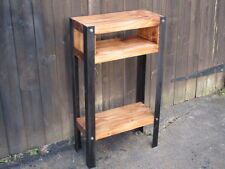 Bespoke H80 x W45 x D20cm rustic industrial steel console hall table 2 shelves