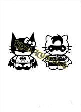 VINYL DECAL STICKER HELLO KITTY BATGIRL & ROBIN...FUNNY.....CAR TRUCK WINDOW